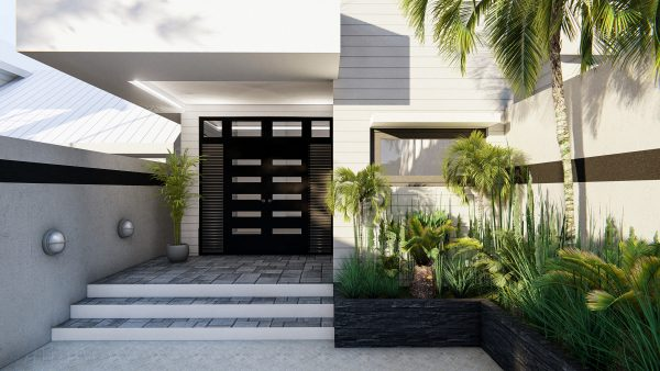 Modern home front entrance visualization in 3D