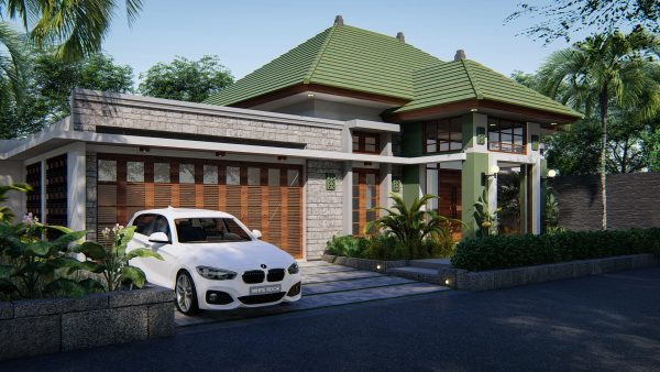 Day view of modern house 3D architectural visualization