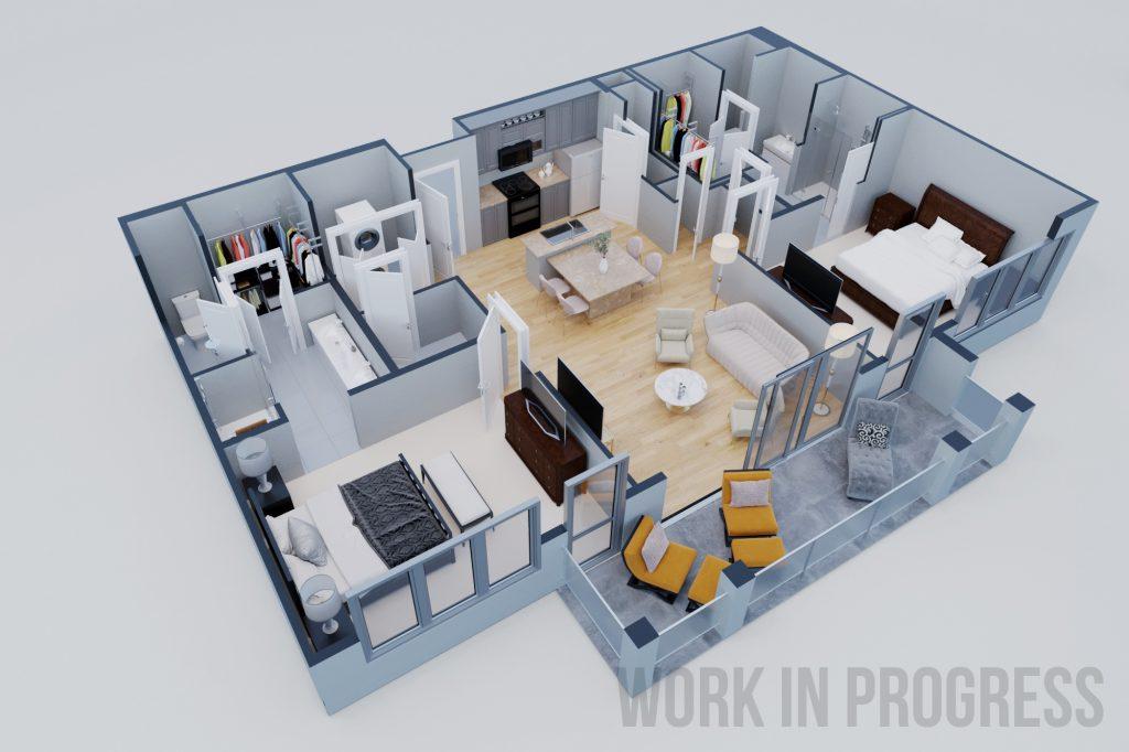 3D floor plan render of modern style apartment – White Rook Design
